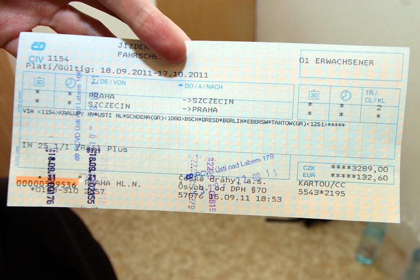 ЖД-билет чешский международный